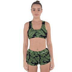 Tropical Leaves On Black Racerback Boyleg Bikini Set