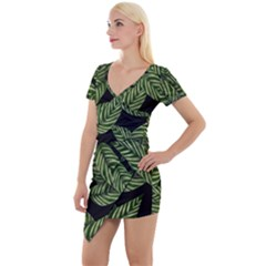 Tropical Leaves On Black Short Sleeve Asymmetric Mini Dress