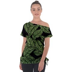 Tropical Leaves On Black Tie Up Tee