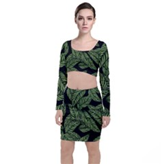 Tropical Leaves On Black Top And Skirt Sets