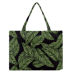 Tropical Leaves On Black Zipper Medium Tote Bag