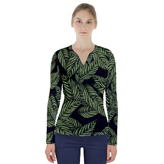 Tropical Leaves On Black V Neck Long Sleeve Top
