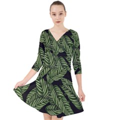 Tropical Leaves On Black Quarter Sleeve Front Wrap Dress
