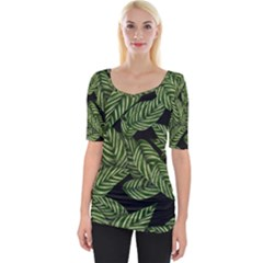 Tropical Leaves On Black Wide Neckline Tee