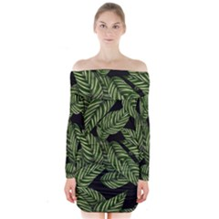 Tropical Leaves On Black Long Sleeve Off Shoulder Dress