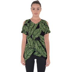 Tropical Leaves On Black Cut Out Side Drop Tee