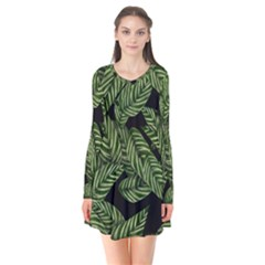 Tropical Leaves On Black Long Sleeve V Neck Flare Dress