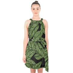 Tropical Leaves On Black Halter Collar Waist Tie Chiffon Dress