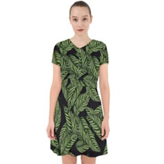 Tropical Leaves On Black Adorable In Chiffon Dress