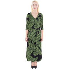 Tropical Leaves On Black Quarter Sleeve Wrap Maxi Dress