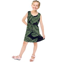 Tropical Leaves On Black Kids  Tunic Dress