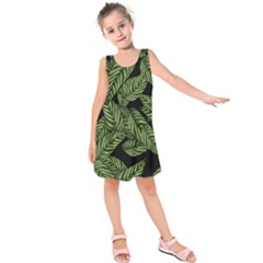 Tropical Leaves On Black Kids  Sleeveless Dress