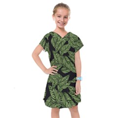Tropical Leaves On Black Kids  Drop Waist Dress
