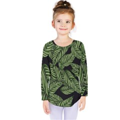 Tropical Leaves On Black Kids  Long Sleeve Tee
