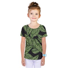 Tropical Leaves On Black Kids  One Piece Tee