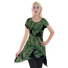 Tropical Leaves On Black Short Sleeve Side Drop Tunic