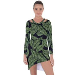 Tropical Leaves On Black Asymmetric Cut Out Shift Dress
