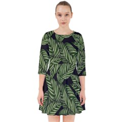 Tropical Leaves On Black Smock Dress