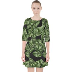 Tropical Leaves On Black Pocket Dress