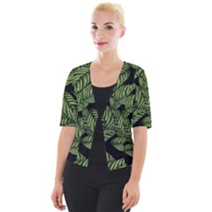 Tropical Leaves On Black Cropped Button Cardigan