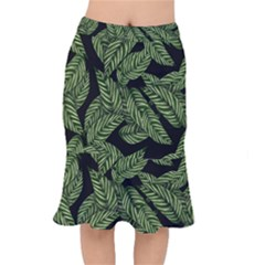 Tropical Leaves On Black Mermaid Skirt