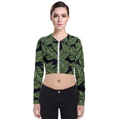 Tropical Leaves On Black Zip Up Bomber Jacket