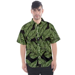 Tropical Leaves On Black Men s Short Sleeve Shirt