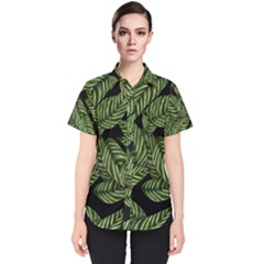 Tropical Leaves On Black Women s Short Sleeve Shirt