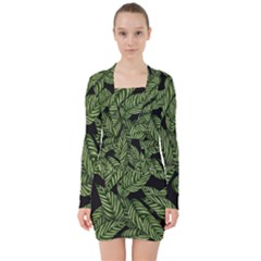 Tropical Leaves On Black V Neck Bodycon Long Sleeve Dress