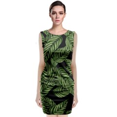 Tropical Leaves On Black Sleeveless Velvet Midi Dress