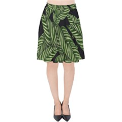 Tropical Leaves On Black Velvet High Waist Skirt