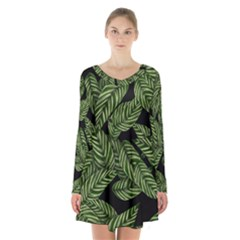 Tropical Leaves On Black Long Sleeve Velvet V Neck Dress