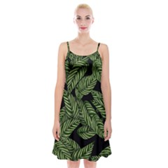 Tropical Leaves On Black Spaghetti Strap Velvet Dress
