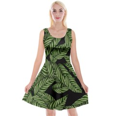 Tropical Leaves On Black Reversible Velvet Sleeveless Dress