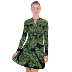 Tropical Leaves On Black Long Sleeve Panel Dress