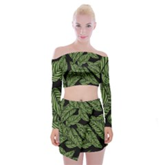 Tropical Leaves On Black Off Shoulder Top With Mini Skirt Set