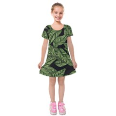 Tropical Leaves On Black Kids  Short Sleeve Velvet Dress