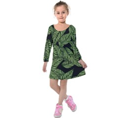 Tropical Leaves On Black Kids  Long Sleeve Velvet Dress