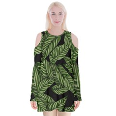 Tropical Leaves On Black Velvet Long Sleeve Shoulder Cutout Dress