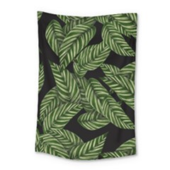 Tropical Leaves On Black Small Tapestry
