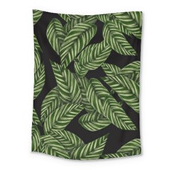 Tropical Leaves On Black Medium Tapestry