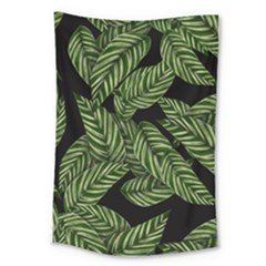 Tropical Leaves On Black Large Tapestry