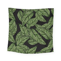 Tropical Leaves On Black Square Tapestry (small)