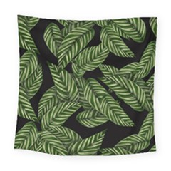 Tropical Leaves On Black Square Tapestry (large)