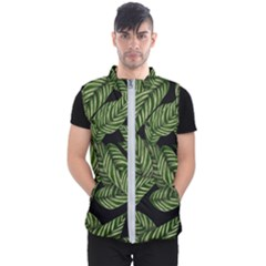 Tropical Leaves On Black Men s Puffer Vest