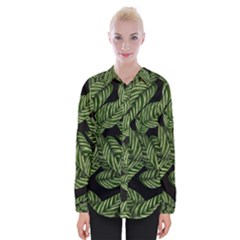 Tropical Leaves On Black Womens Long Sleeve Shirt