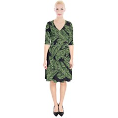 Tropical Leaves On Black Wrap Up Cocktail Dress