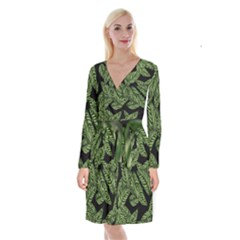 Tropical Leaves On Black Long Sleeve Velvet Front Wrap Dress
