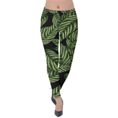 Tropical Leaves On Black Velvet Leggings