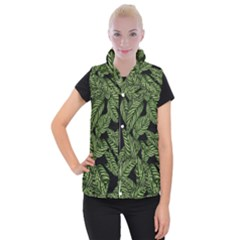 Tropical Leaves On Black Women s Button Up Vest